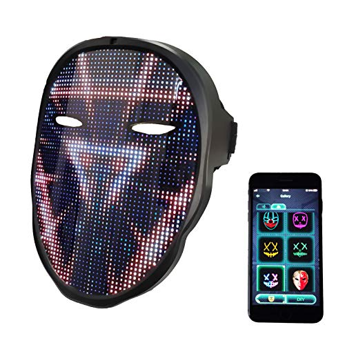 Led Mask with Rechargeable Bluetooth App Controlled, Customizable Shining Mask, LED Lighted Face Transforming Mask