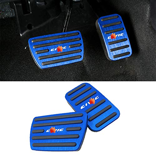 Horry No Drilling Non Slip Gas Pedal Brake Pedal Kit Cover with Aluminum Alloy 2 Pieces/Set Interior Accessories Trim for Honda 10th Civic 2016 2017 2018 2019 2020 (Blue)