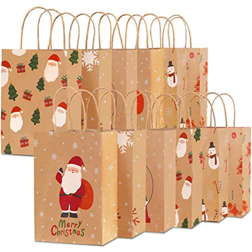 Christmas Bags for Gifts, 24 PCS Christmas Holiday Bags, Paper Party Favor Goodie Gift Bags with Assorted Prints for Christmas Kraft Favors Bag