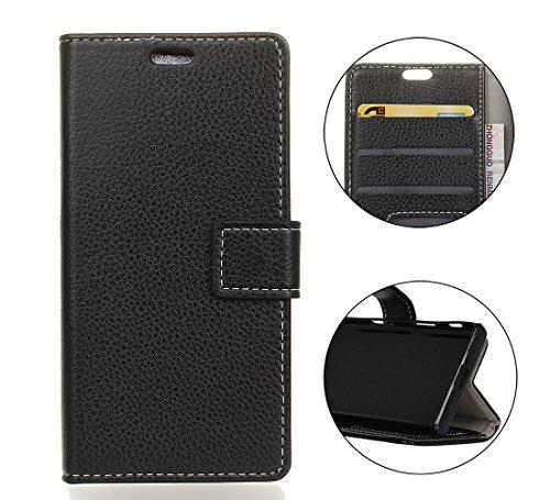 Sunrive Hülle Für Wiko Tommy 3, Magnetisch Schaltfläche Ledertasche Schutzhülle Hülle Handyhülle Schalen Handy Tasche Lederhülle(Litchi schwarz 3)+Gratis Universal Eingabestift