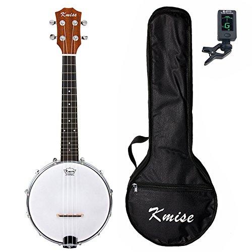 Kmise Banjolele, 4 Saiten Banjo-Ukelele, 58,4 cm, Konzertinstrument, Sapele-Holz, mit Tasche und Stimmgerät Konzert Banjo A