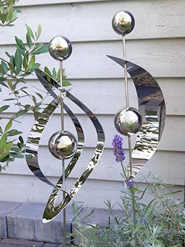 Design Gartenstecker 2er Set Edelstahl mit Kugel Kugeln Ellipse und Halbkreis Metall Gartendeko Beetstecker Topstecker Gartenstab