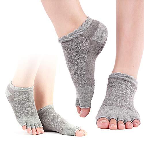 chuangminghangqi Yoga Socken Rutschfeste für Damen für Pilates Barre Ballett Tanz Gymnastik Fitness Socken offen Rutschfest - zehenfreie Füsslinge (Einheitsgröße, Grau *2)
