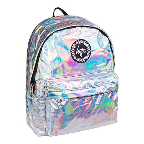 Holographic Backpack Silver Grey Schoolbag BTS17023 Hype bags