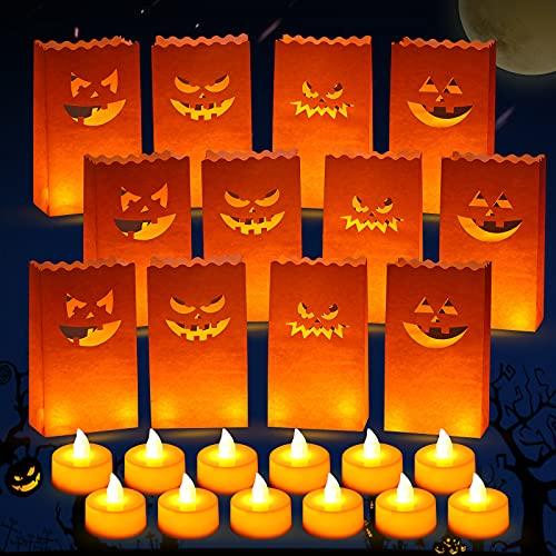 12 Stücke Halloween LED Papierlaterne,Kürbis Leuchten Papier Taschen Flammenlose Elektrische Taschen Leuchten Papier Tüten für Halloween Decoration Party Gärten