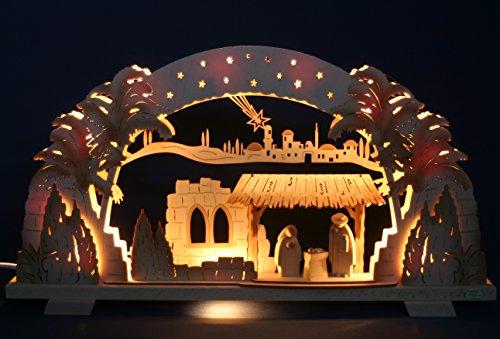 Schwibbogen Christi Geburt mit Krippe exclusiv schattiert - Handarbeit aus dem Erzgebirge - Lichterbogen