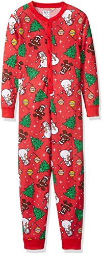 Fruit of the Loom Boys' Union Suit, Red Christmas Print, X-Large (14/16)