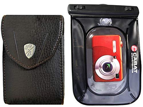 Kameratasche Rindleder braun mit Unterwasserbeutel Modell S für kleine Kameras