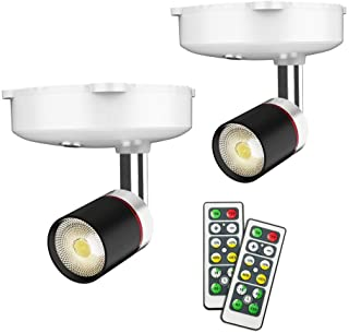 Wireless Spotlight, LED Puck Light, 2 Pack Battery Operated Accent Lights Art Picture Wall Light with Rotatable Light Head...