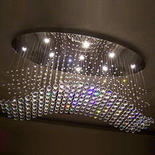 CRYGD Moderne kroonluchter, golf ovaal regendruppels helder LED kristallen verlichtingslichaam voor woonkamer eetkamer boven tafel, 5W lampen