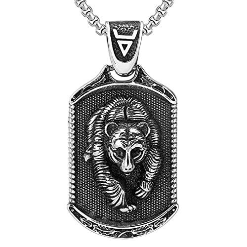 EzzySo Panda Colgante, Vikingo gótico, Collar de Acero de Titanio de Oso, Adecuado para Caballeros, Halloween, Fiestas, Hombres y Mujeres (incluida la Cadena),A