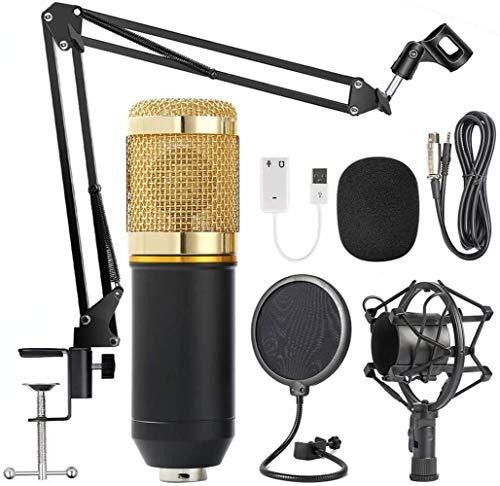 Professionell Studio Kondensator Mikrofon Set,Studio Tisch Professionell Mikrofon mit Arm Ständer&Halter, EDAHBJNEST5MK BM-800 Tisch Kondensator Mikrofon mit Ständer,Aufnahme,Podcast,Gaming (Golden)