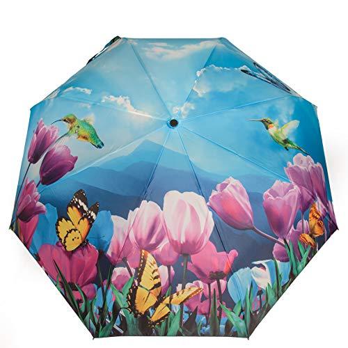 Taschenschirm Motiv Blumen Schmetterlinge und Kolibris Regenschirm für Frauen