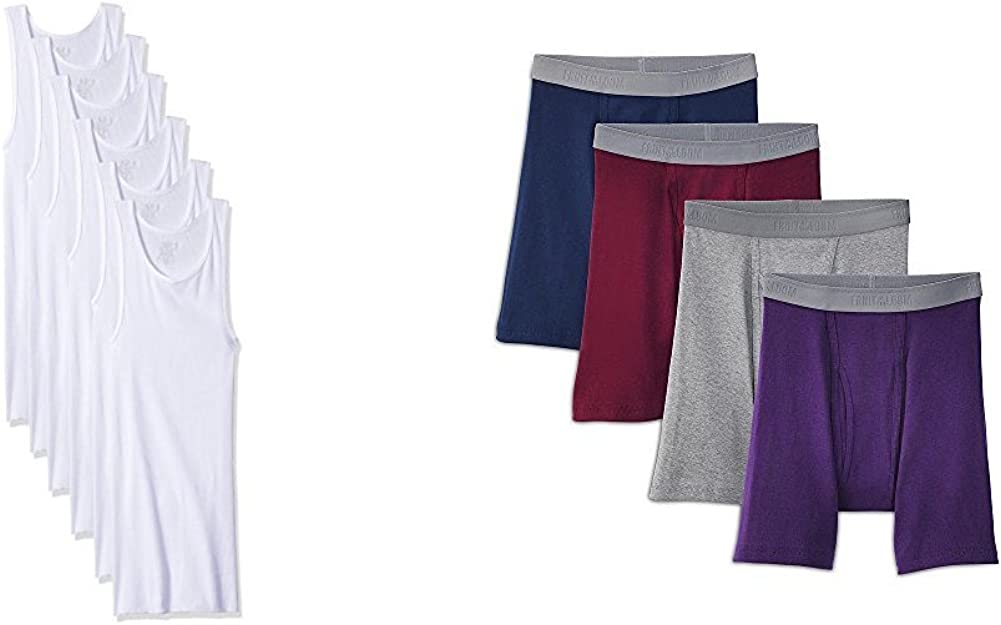 Fuit of the Loom Men's A-shirt (6) & Premium Boxer Brief (4) Bundle