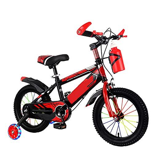 CKCL Bicicleta para Niños para Niños Y Niñas Bicicleta De Estilo Libre para Niños De 2 a 12 Años 12 14 16 18 20Pulgadas con Ruedas De Entrenamiento con Portabidón con Soporte para Niños,Rojo,18inches