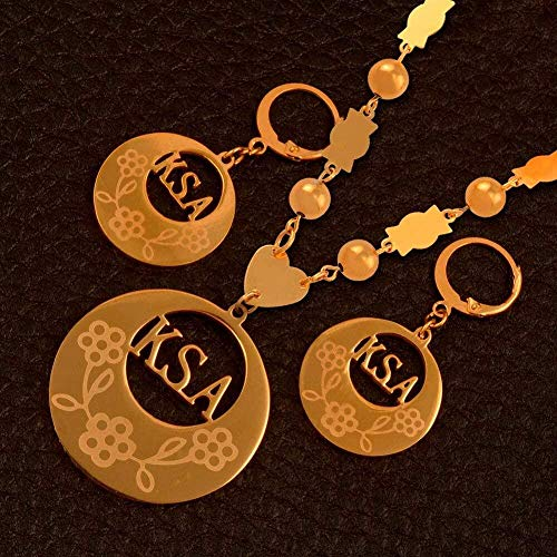 Ahuyongqing Co.,ltd Collar Ksa Micronesia Conjunto de Joyas Colgante con Cuentas de Bolas Collares Pendientes Conjuntos para Mujeres Regalo de joyería de Color Dorado