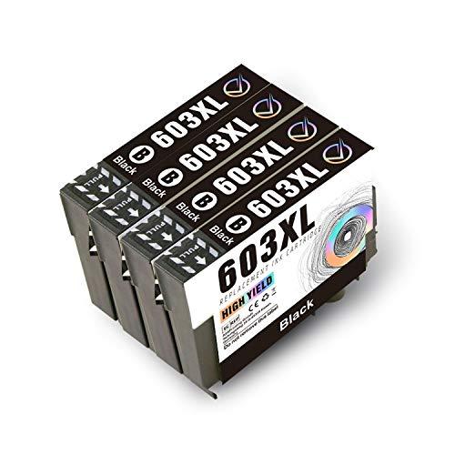 Victor 4 Cartuchos de Tinta Negra 603XL de Repuesto para Epson 603 compatibles con Epson Home XP-3100 XP-4100 XP-2100 XP-2105 XP-3105 XP-4105, Workforce WF-2810 WF-2830 WF-2835