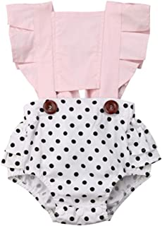 Toddler Infant Baby Girls Ruffles Backless Romper Bodysuits Polka Dot Floral Outfit