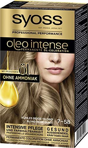 Syoss Oleo Intense Permanente Öl-Coloration 7-58 Kühles Beige-Blond, mit pflegendem Öl & ohne Ammoniak, 3er Pack(3 x 115 ml)