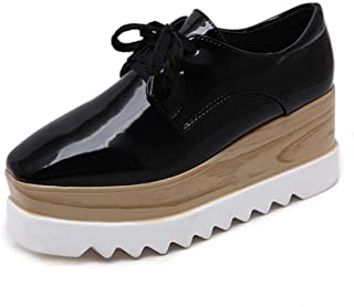 Women's Platform Shoes Low-Top Casual Shoes PU Retro Square Head Shoes Wedge Shoes Outdoor Walking Shoes Black Beige,Black,39