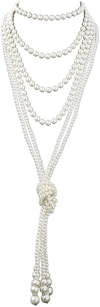 TUOKAY 1920s Pearls Beads Necklace for Women Girls, Fashion Imitation Faux Pearls Long Necklace Vintage Costume Jewelry Necklace 55 in. Diameter of Pearl 0.32 in.