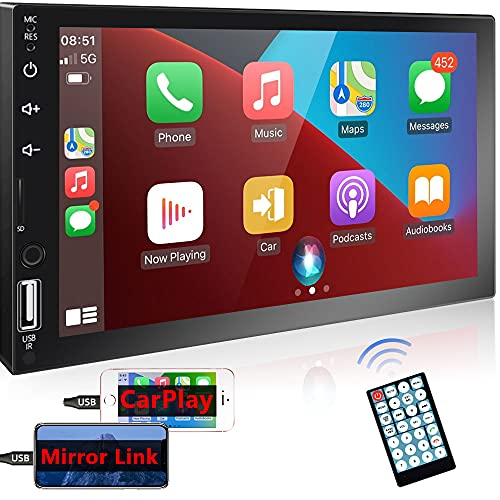 Podofo Double Din Car Stereo Compatible with Apple Carplay and Android Auto, 7'' HD Touch Screen Car Radios MP5 Player with Bluetooth, Handsfree Calling, Mirror Link, USB, FM Radio, SD/TF Card