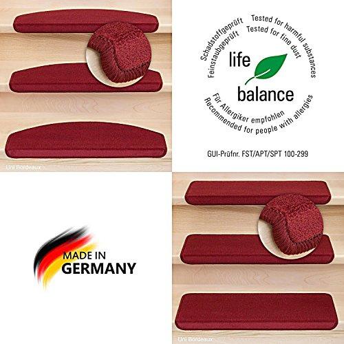 Kettelservice-Metzker® Stufenmatten Vorwerk Uni Einzeln und Sparset's Bordeaux 14 Stück Halbrund