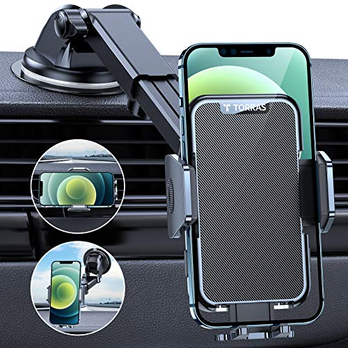 TORRAS Phone Holder for Car, Latest [12 Mate Series] Car Phone Holder Mount for Vehicle Dashboard Windshield Air Vent, Car Phone Stand Cradle Dock Bracket Fits iPhone 12 Pro Max Mini Samsung S21 & All