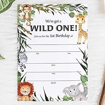 SET OF 25 Safari 1st Birthday Party Invitations Wild One Invitations with Envelopes Jungle Theme Lion Elephant Giraffe Zebra Monkey Birthday Party Invites