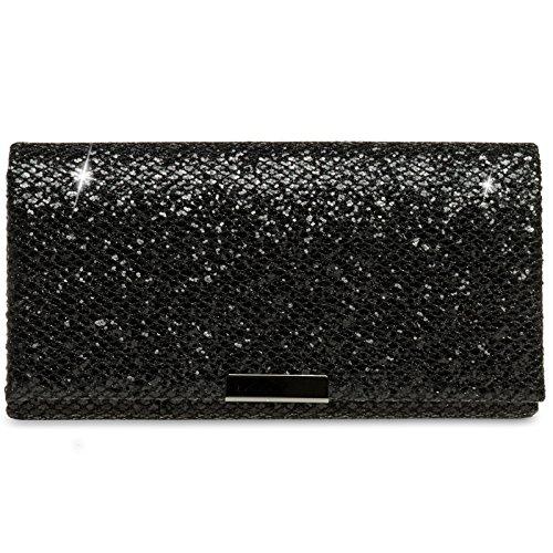 Caspar TA342 Damen kleine elegante Glitzer Clutch Tasche Abendtasche, Farbe:schwarz, Größe:One Size