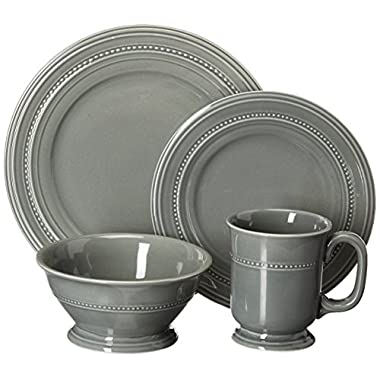 Gibson Elite Barberware 16 Piece Dinnerware Set, Gray