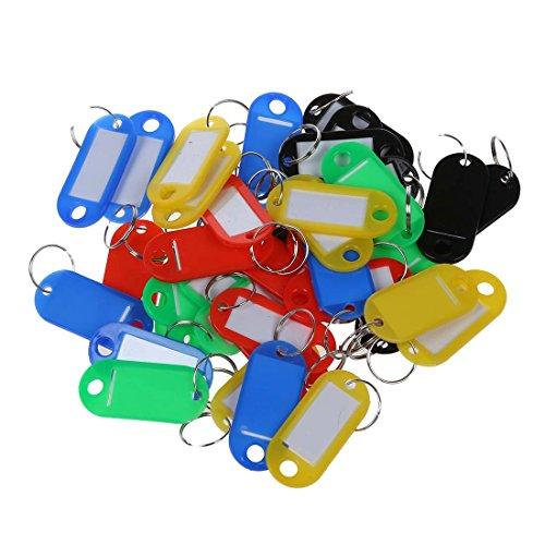Nirmon 40 pzs Anillo partido Sostenedor de llave etiqueta de tarjeta de nombre cadena de identificacion de plastico colorido
