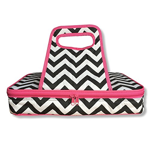 Thermal Insulated 10x15 Pink Black and White Chevron Casserole Carrier - Hot or Cold - Double Zipper and Handles