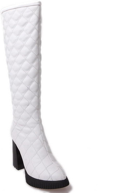 WeenFashion Women's PU High-Heels Closed-Toe Boots with Checks