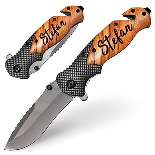 Taschenmesser mit Gravur Messer Outdoor Klappmesser mit Holz Griff Geschenk personalisiert