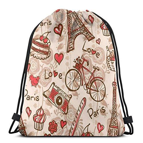 Dingjiakemao Gymsack Gym Bag Paris Eiffelturm Rotes Thema Liebe Beere Kuchen Kamera Fahrrad Kordelzug Rucksack Umhängetasche Leichtgewicht Für Frauen