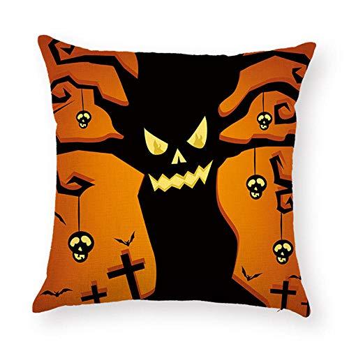 Funda de Almohada de Halloween, Castillo de Calabaza Funda de cojín de Halloween para sofá, Cama, Fiesta de Halloween-3