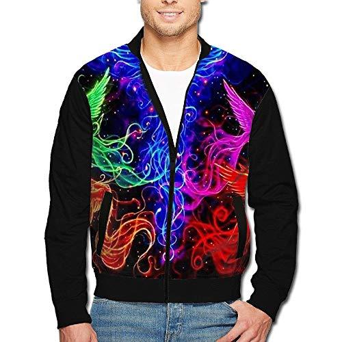 1Zlr2a0IG Men's Print Zip Front Jacket Rainbow Phoenix Stand Collar Baseball Bomber Jacket Sleeve Coat