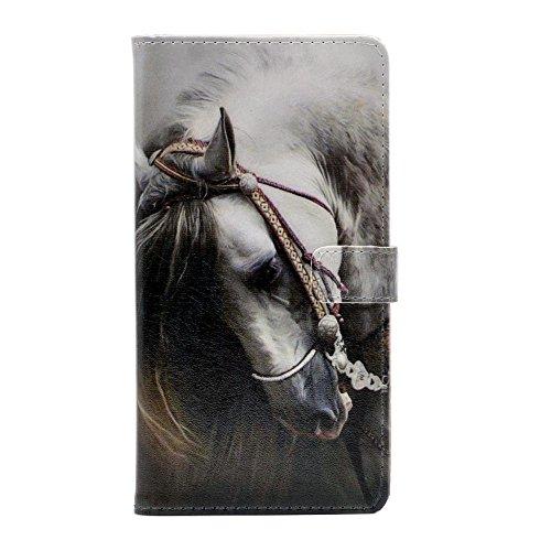 YHB Case for Galaxy J3 2018, White Horse Leather Wallet Flip Case Card Holder Stand Shockproof Protector TPU Cover for Samsung Galaxy J3/J3 (2018)/J3 V 3rd gen/J3 3rd gen/J3 Star