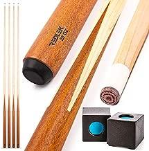 "REDLEK Pool Cue Set of 4 | 1 Piece 58"" Pool Sticks with Pool Chalk | Hardwood Canadian Dried Maple Billiard Cue 20 Oz with 13mm Tip | House Bar Billiard Accessories"