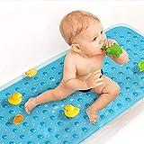 Sheepping Duschmatte Kinder Badewannenmatte rutschfest, Antirutschmatte Badewanne mit Saugnapf, PVC Badewannenmatte, Maschinenwaschbar Duschmatten BPA Frei 101,6 x 40,6cm (Blau)