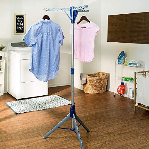 Perfect for Laundry Ironing 2-Tier Three Arms Tripod Garment Rack Air-Dryi