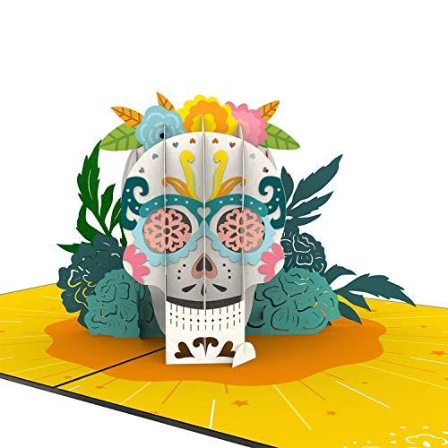 Unipop Cards Day of the Dead Pop Up Karte, Halloween Karte, 3D Karte, Skelett Karte, Tag der Toten, Grußkarten, Popup Grußkarten, Halloween, Geburtstagskarte, Halloween Totenkopf Pop-Up Karte