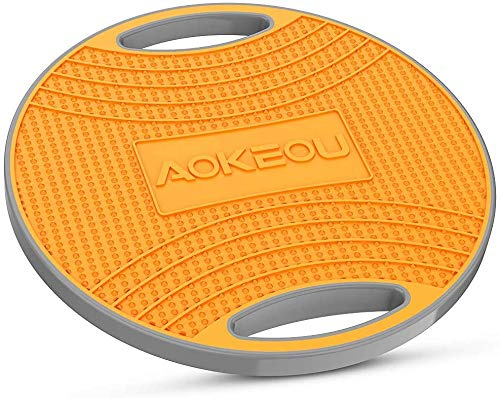 AOKEOU バランスボード ダイエット 体幹トレーニング用 滑り止め 360度回転 フィットネス トレーニング 筋トレヨガ 運動不足も対応 ストレッチ器具 (グレー+オレンジ)