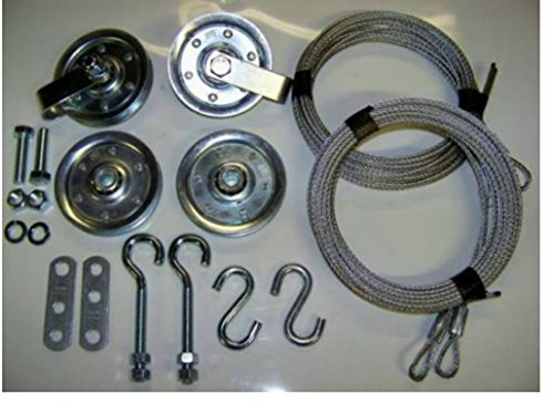 Garage Door Extension Spring Pulley Sheave Kit +SAFETY CABLES & INSTRUCTIONS (1set)