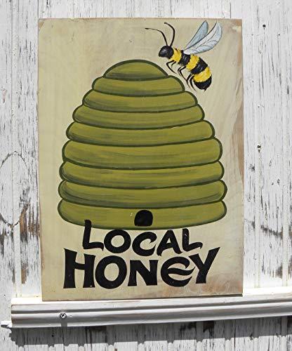 Ja242oe Cartel de Miel Local para la Venta, Esta es una Pieza de decoración Original Pintada a Mano con Arte de Abeja de Miel, Gran decoración de Porche de Cocina o Mercado de Agricultores