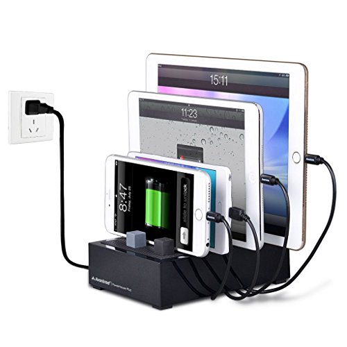 Avantree 4 Ports Desktop USB Charging Station for Multiple Devices with Cable Management, Thick Cases Supported, Compatible with iPhone, iPad