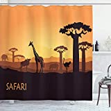 Cortina de Ducha Safari, Sunset a Giraffe Avestruz Hippo Adventure Exotic Pastoral Wilderness, Juego de decoración de baño de Tela de Tela con Ganchos, Albaricoque marrón