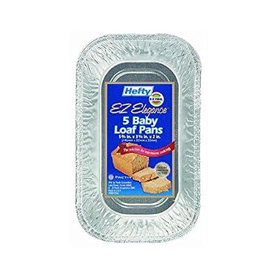 """93835 Hefty EZ Foil Bake Mini Loaf Pan 5.75""""x3.25""""x2"""" 12-5PKS/CS"""