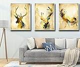 XIANRENGE Leinwanddrucke,3 Panel Abstrakt Tier Hirsche Elch